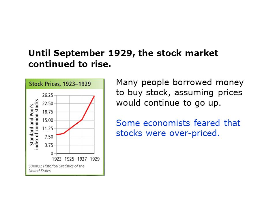 Until September 1929, the stock market continued to rise.