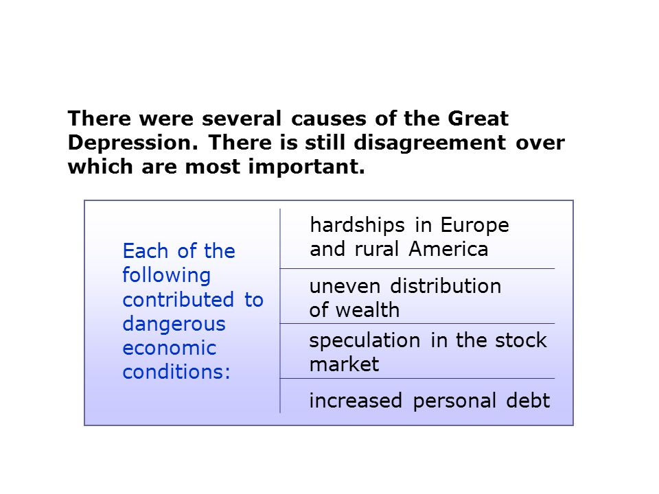 Each of the following contributed to dangerous economic conditions:
