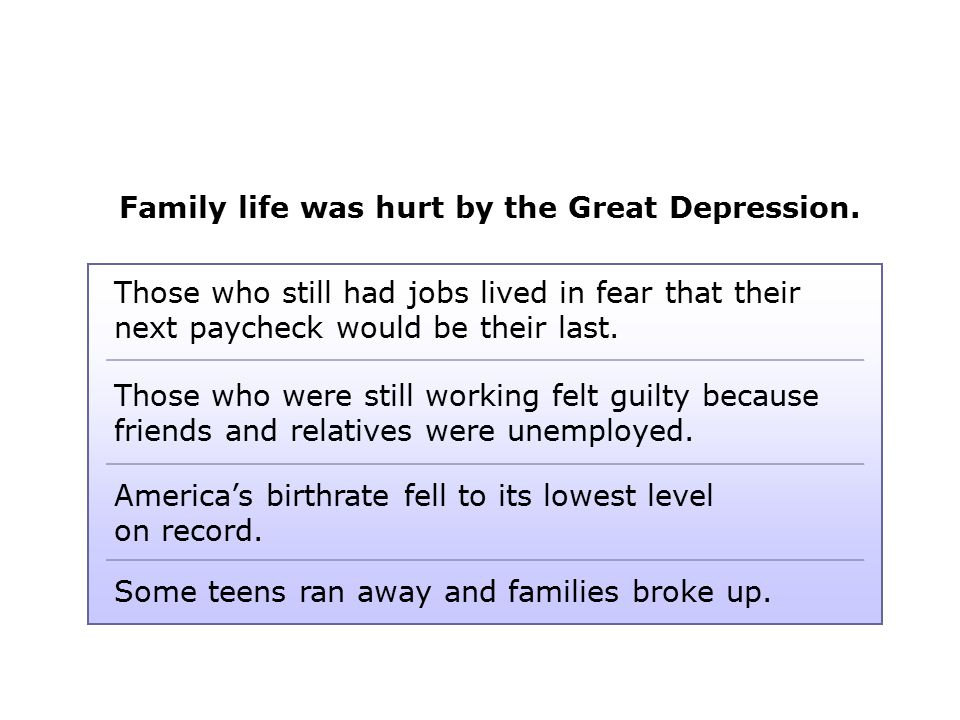 Family life was hurt by the Great Depression.