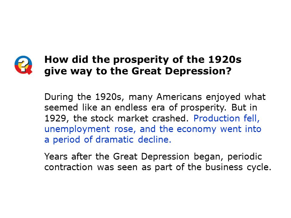 How did the prosperity of the 1920s give way to the Great Depression