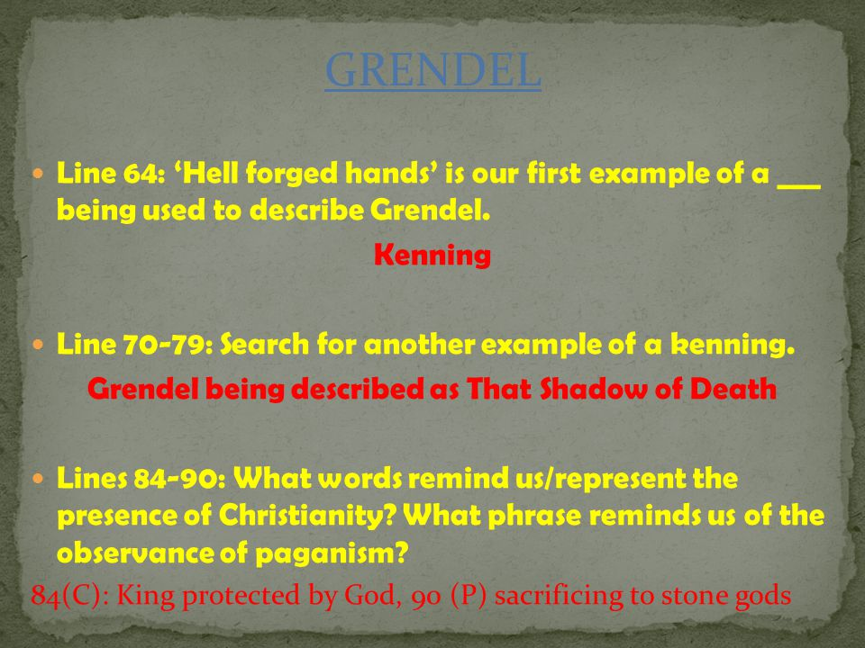Grendel being described as That Shadow of Death