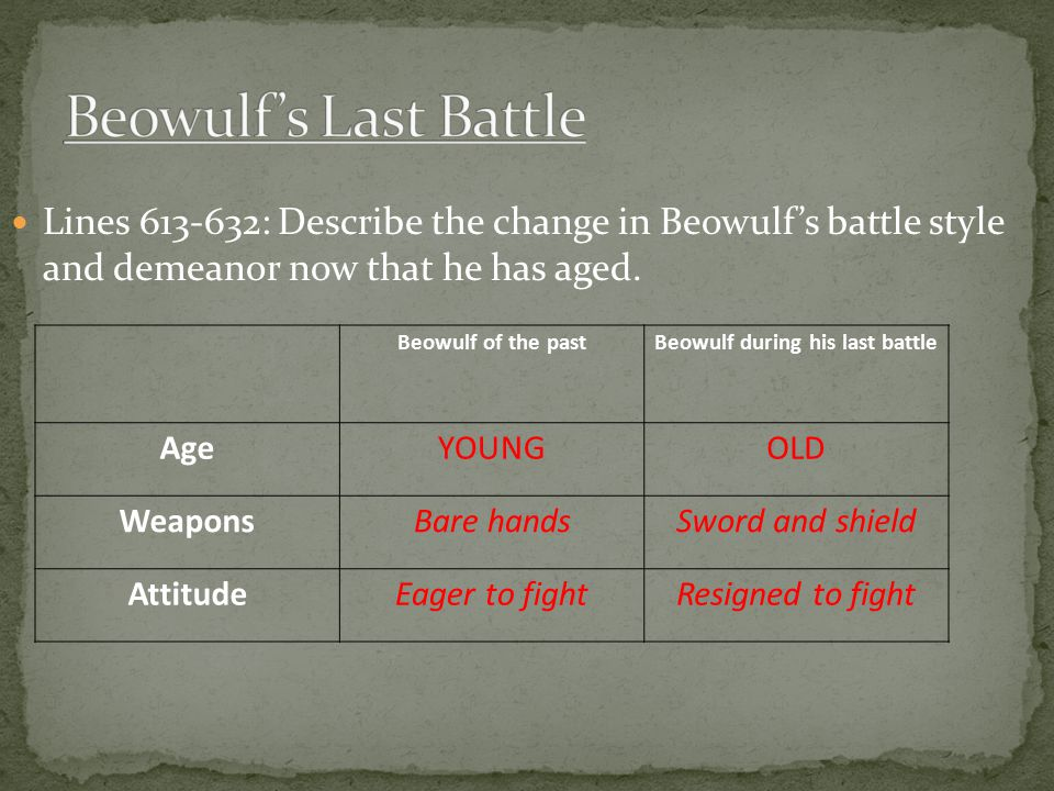 Beowulf during his last battle