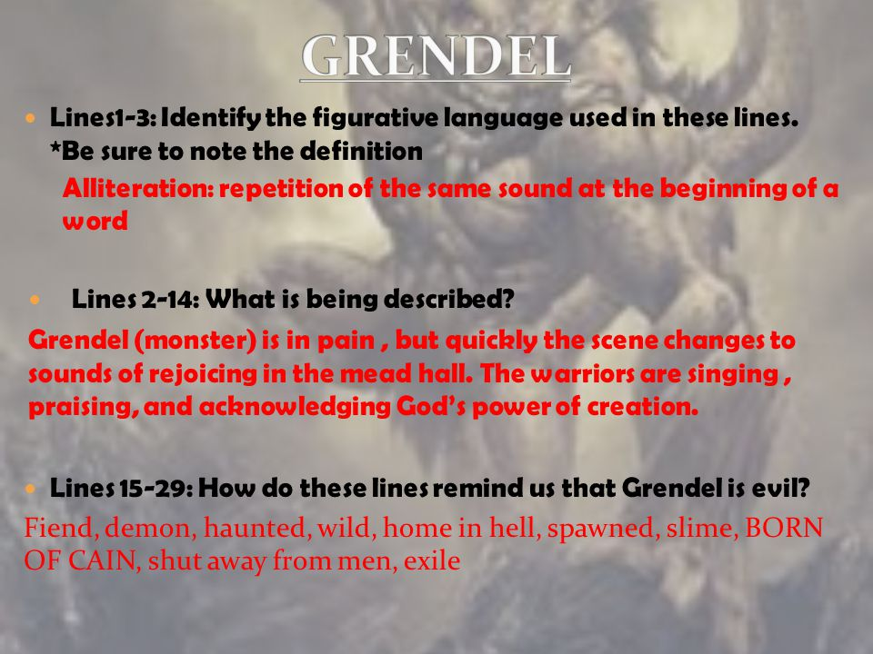 GRENDEL Lines1-3: Identify the figurative language used in these lines. *Be sure to note the definition.