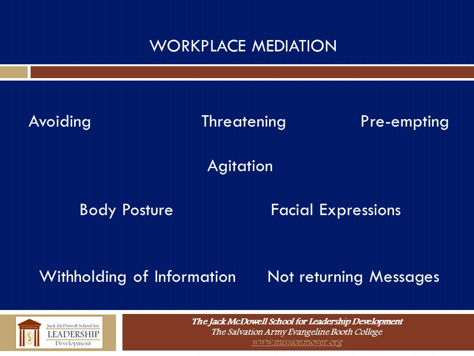 WORKPLACE MEDIATION Avoiding Threatening Pre-empting. Agitation. Body Posture Facial Expressions.