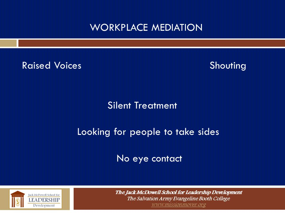 WORKPLACE MEDIATION Raised Voices Shouting. Silent Treatment. Looking for people to take sides.