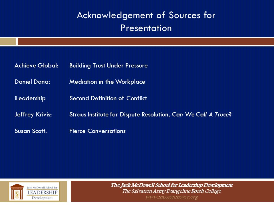 Acknowledgement of Sources for Presentation