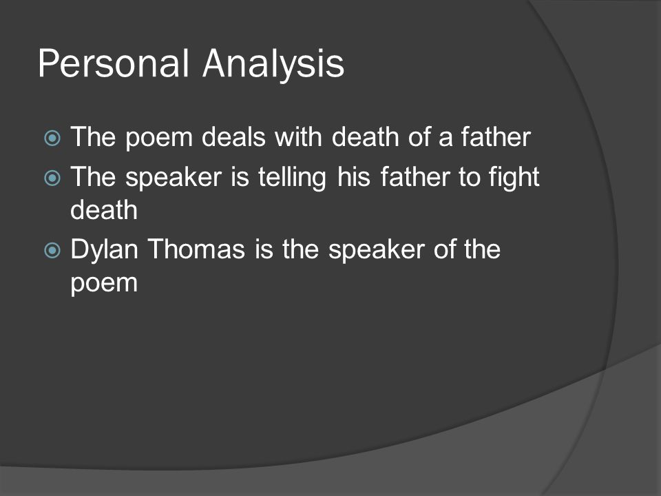 Personal Analysis The poem deals with death of a father