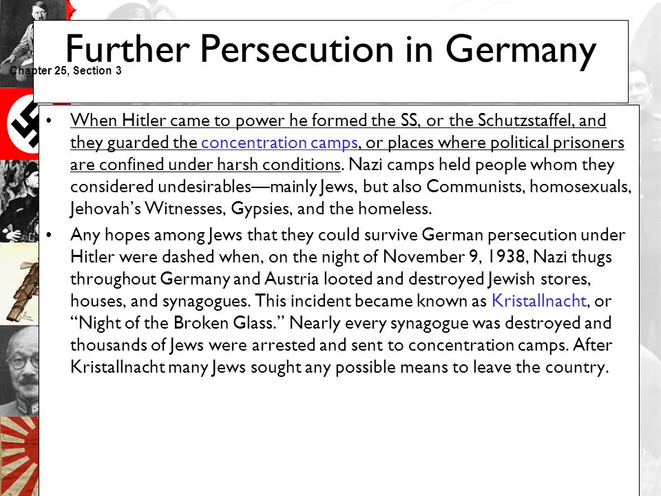 Further Persecution in Germany
