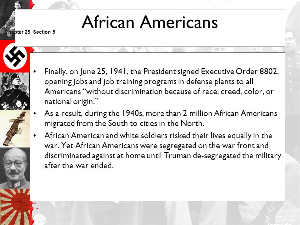 African Americans Chapter 25, Section 5.