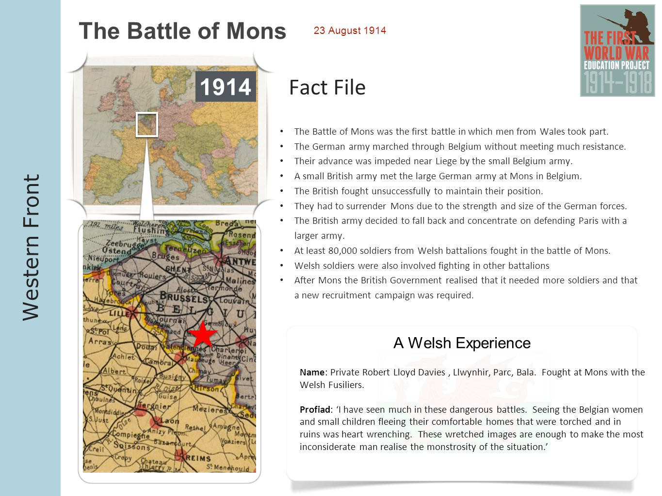 1914 1914 The Battle of Mons 1914 Fact File Western Front