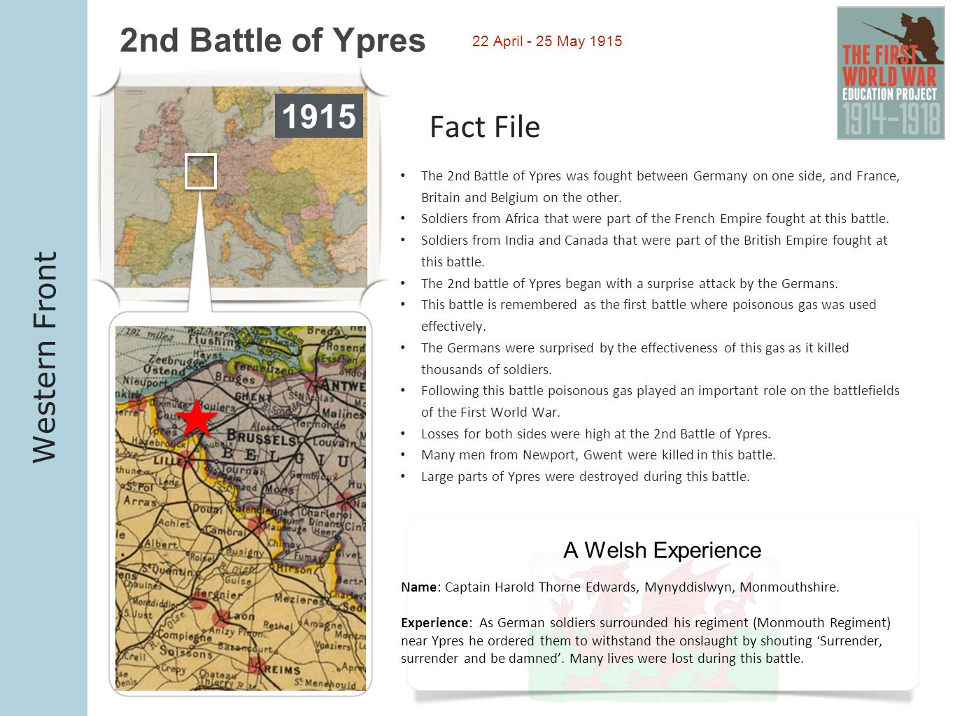 2nd Battle of Ypres 1915 Fact File Western Front A Welsh Experience