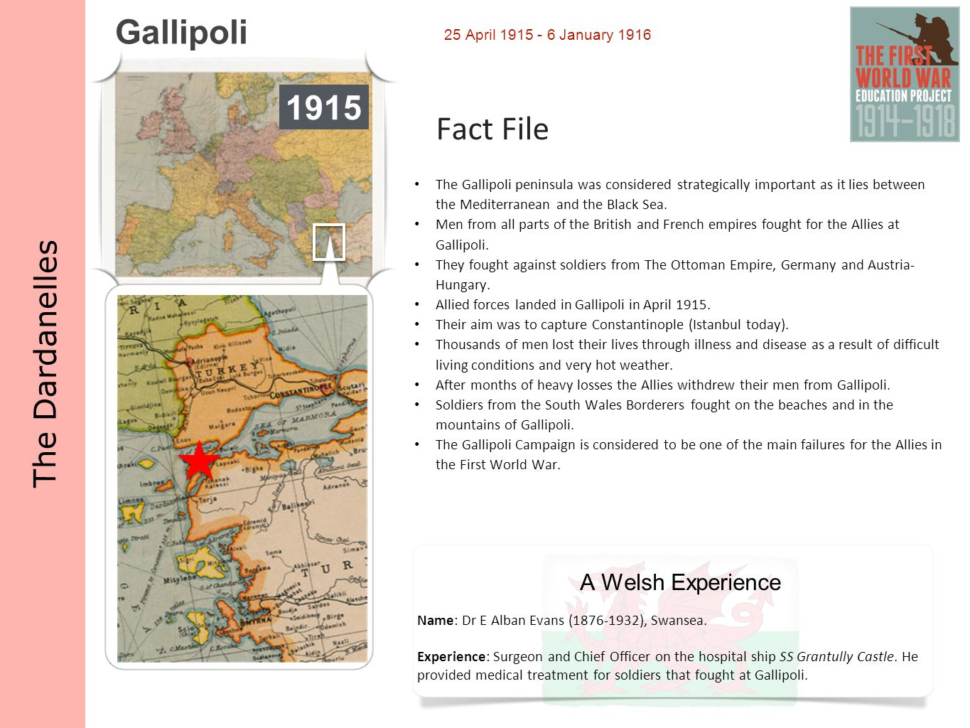 Gallipoli 1915 Fact File The Dardanelles A Welsh Experience