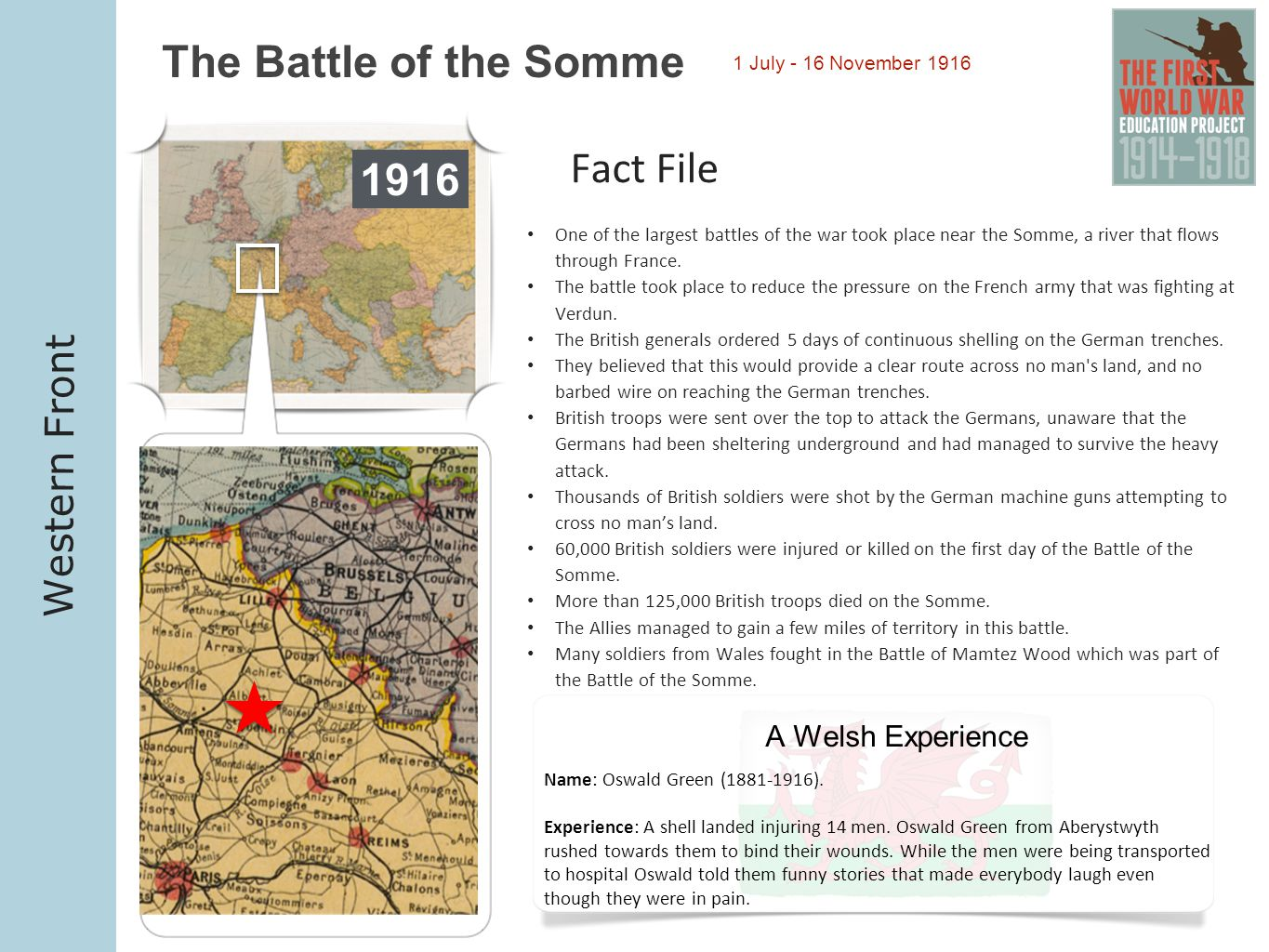 The Battle of the Somme Fact File 1916 Western Front