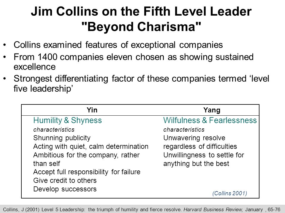 Jim Collins on the Fifth Level Leader Beyond Charisma