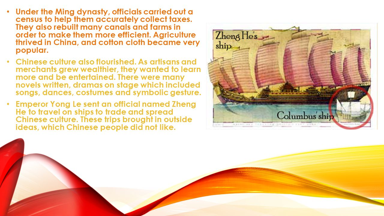 Under the Ming dynasty, officials carried out a census to help them accurately collect taxes. They also rebuilt many canals and farms in order to make them more efficient. Agriculture thrived in China, and cotton cloth became very popular.