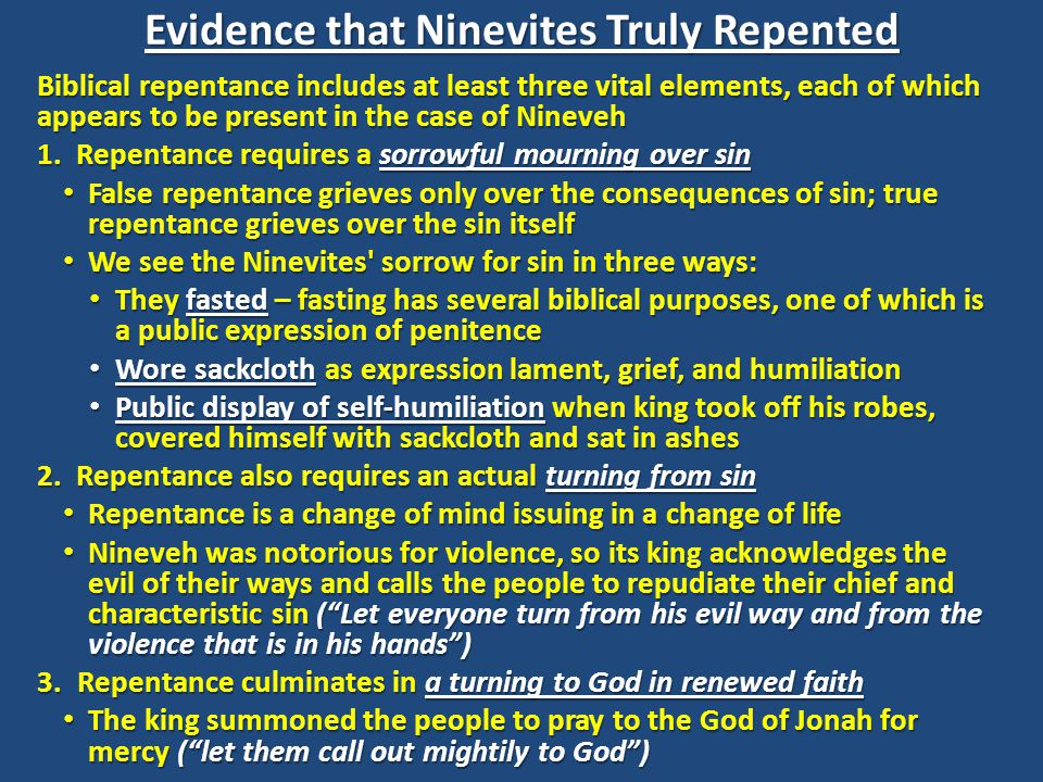 Evidence that Ninevites Truly Repented