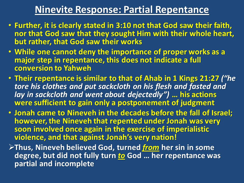 Ninevite Response: Partial Repentance