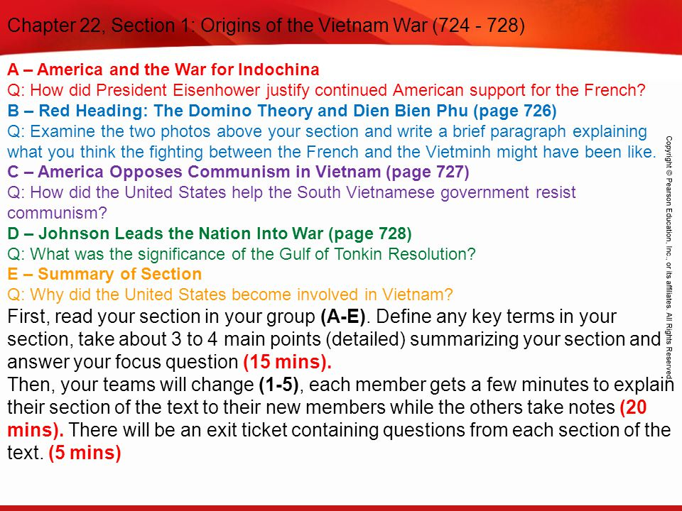 Chapter 22, Section 1: Origins of the Vietnam War (724 - 728)