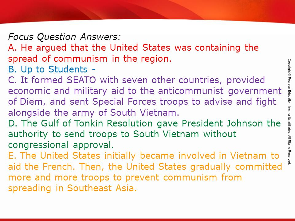 Focus Question Answers: