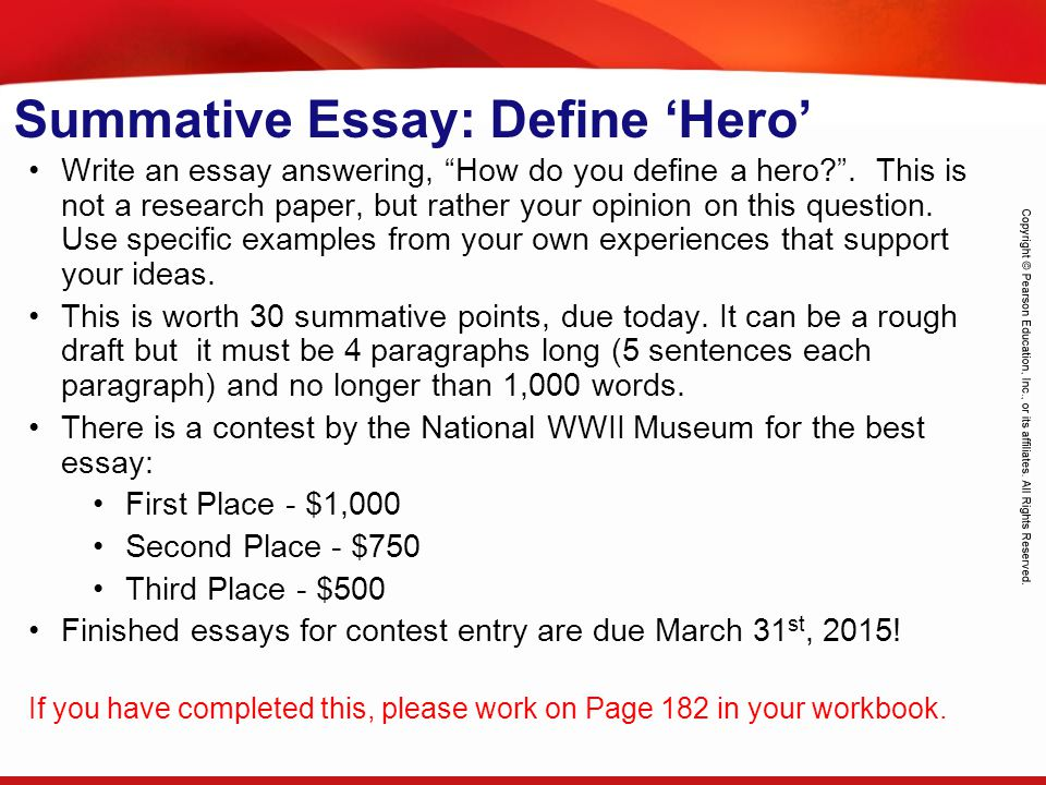 Summative Essay: Define 'Hero'
