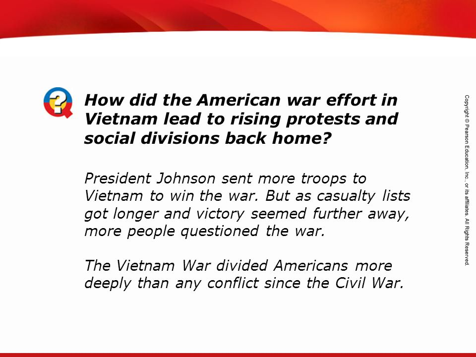 How did the American war effort in Vietnam lead to rising protests and social divisions back home