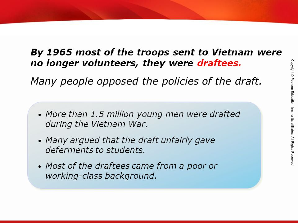 Many people opposed the policies of the draft.