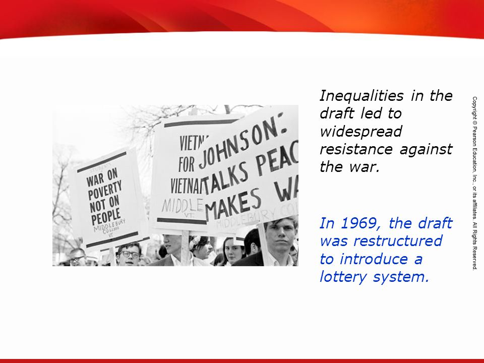 Inequalities in the draft led to widespread resistance against the war.