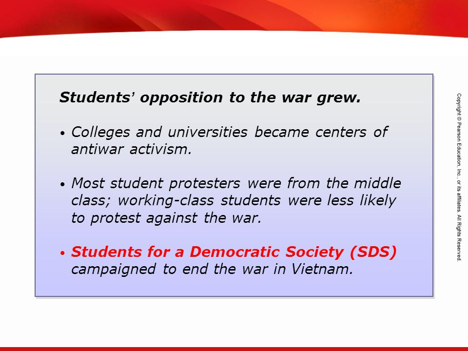 Students' opposition to the war grew.