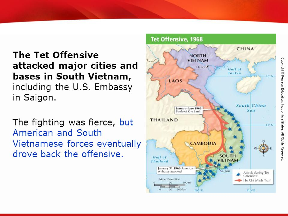 The Tet Offensive attacked major cities and bases in South Vietnam, including the U.S. Embassy in Saigon.
