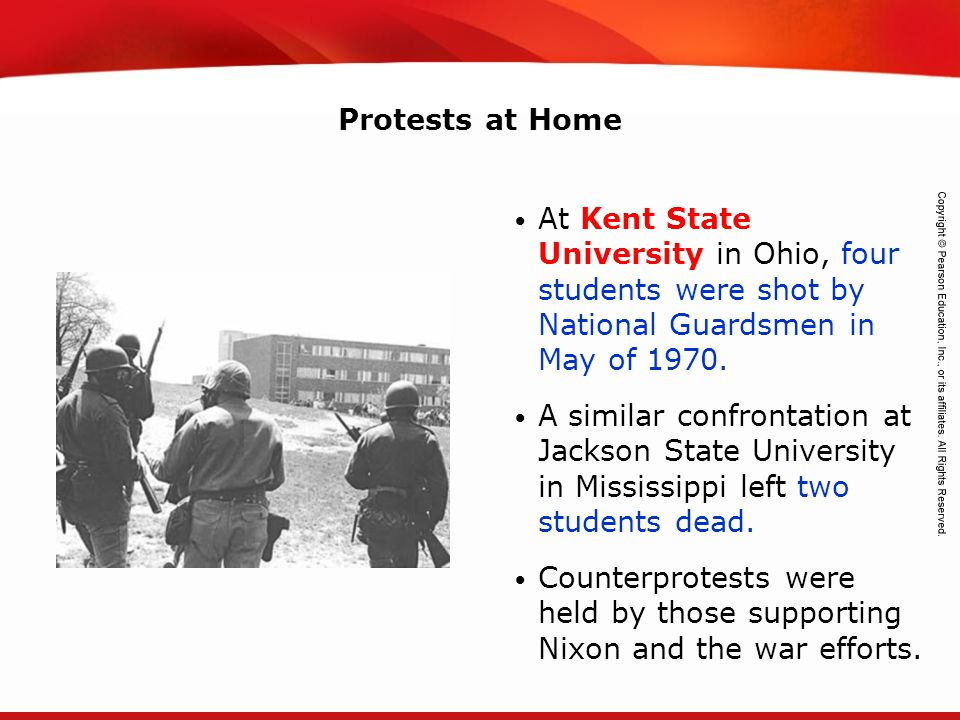 Protests at Home At Kent State University in Ohio, four students were shot by National Guardsmen in May of 1970.