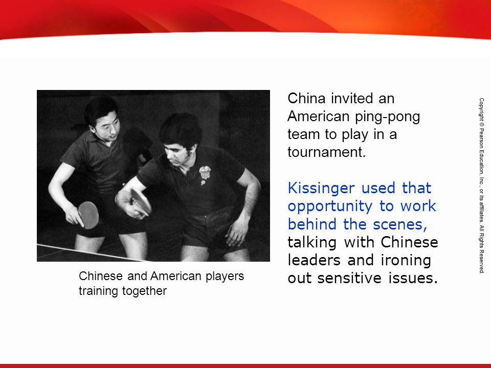 China invited an American ping-pong team to play in a tournament.