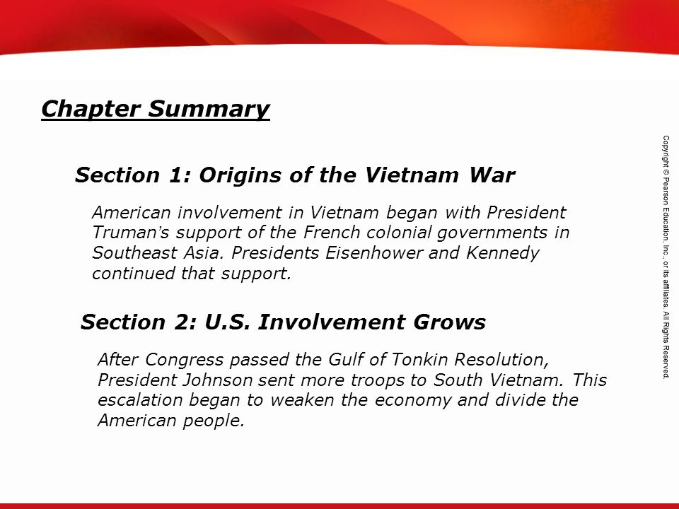 Chapter Summary Section 1: Origins of the Vietnam War