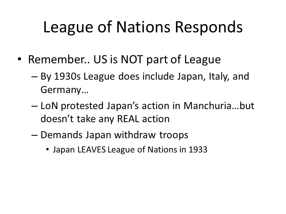 League of Nations Responds