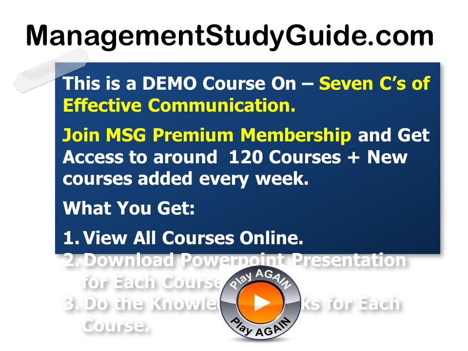 ManagementStudyGuide.com This is a DEMO Course On – Seven C's of Effective Communication.