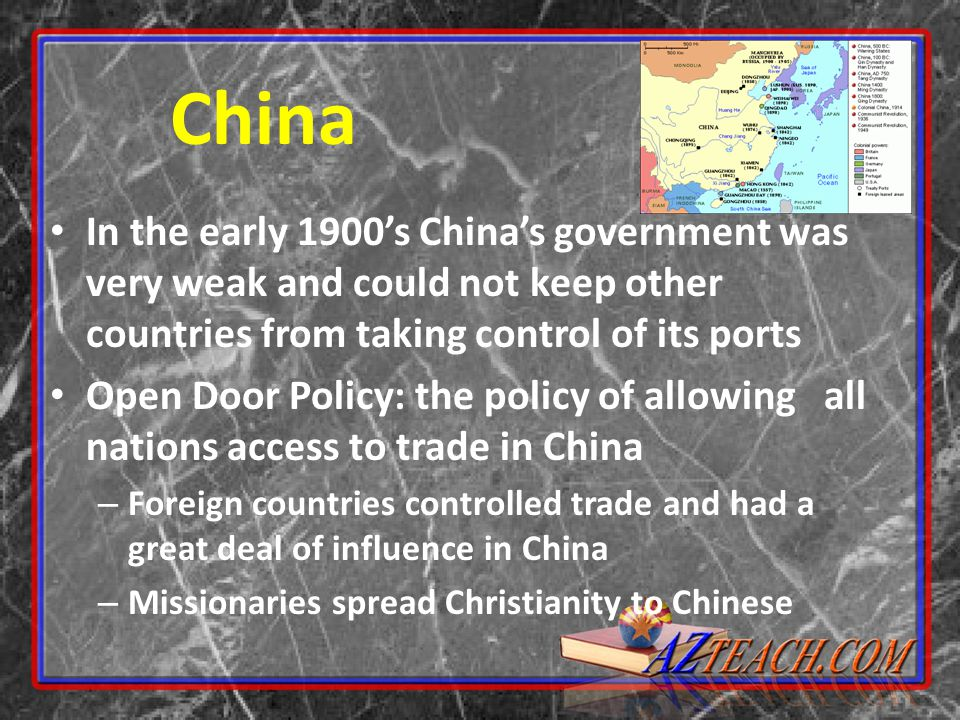 China In the early 1900's China's government was very weak and could not keep other countries from taking control of its ports.