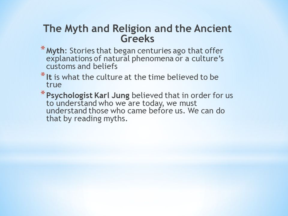 The Myth and Religion and the Ancient Greeks
