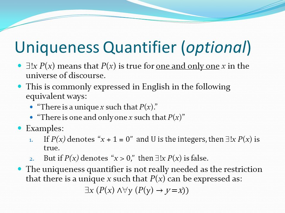 Uniqueness Quantifier (optional)