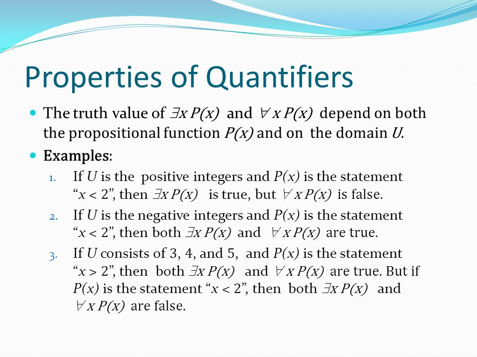 Properties of Quantifiers