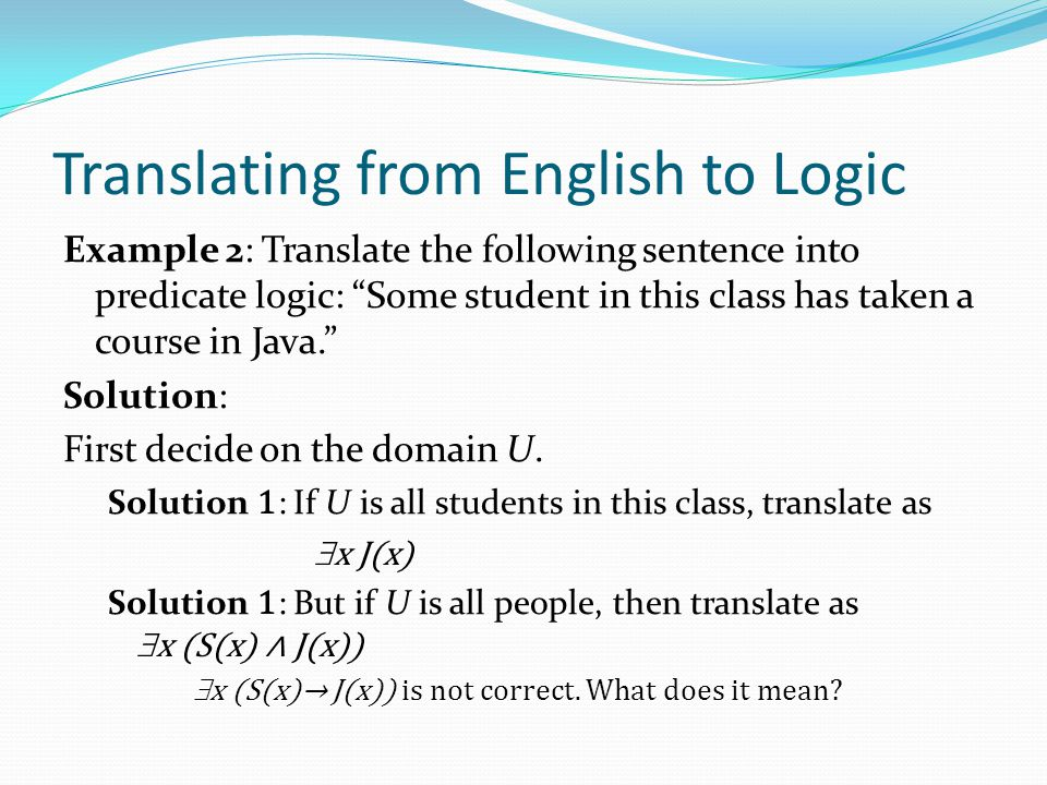 Translating from English to Logic