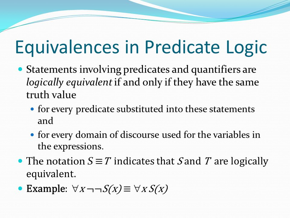 Equivalences in Predicate Logic
