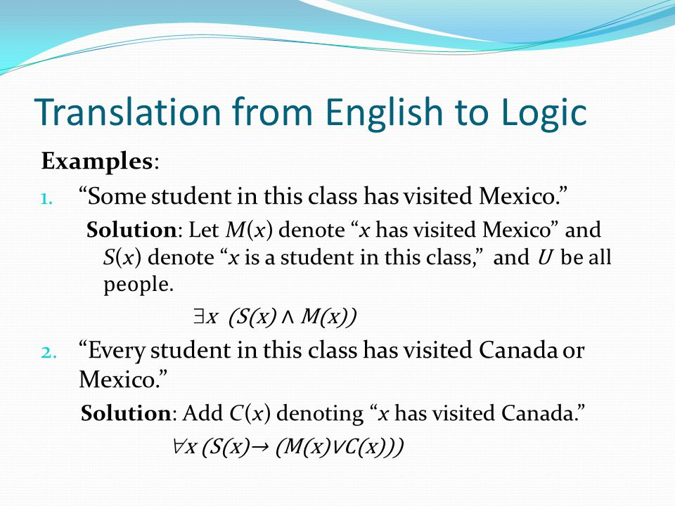 Translation from English to Logic