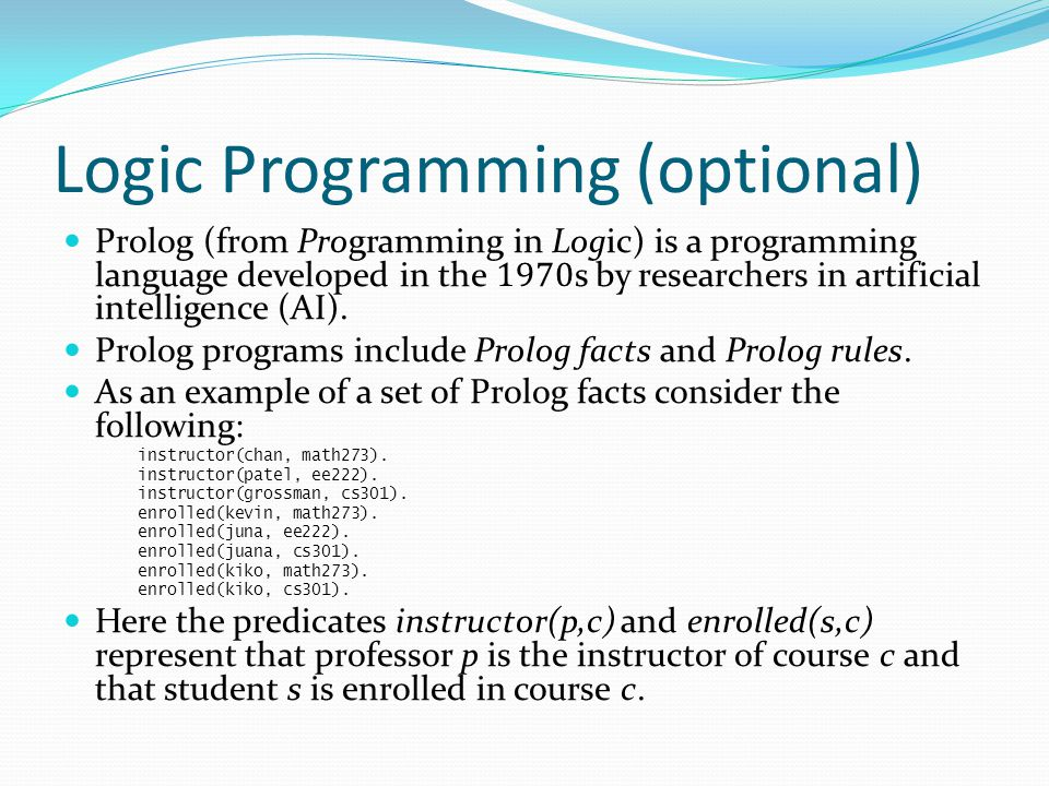 Logic Programming (optional)