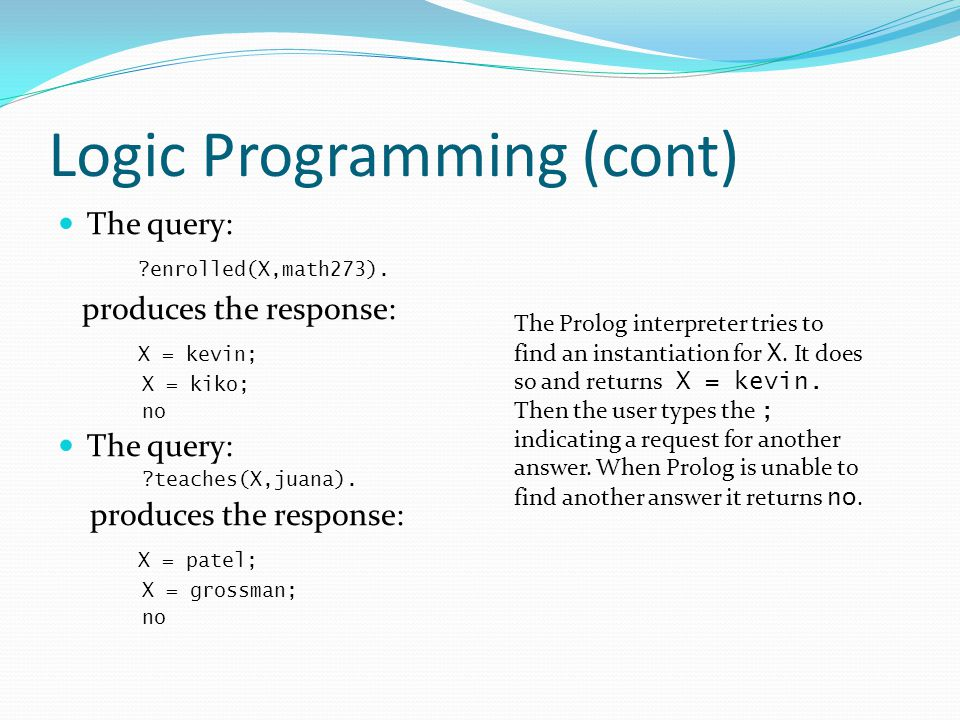 Logic Programming (cont)