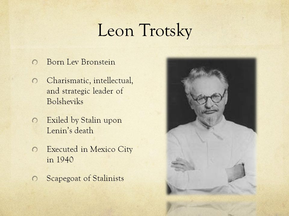 Leon Trotsky Born Lev Bronstein
