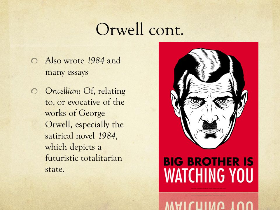 1984 by george orwell essays To write a 1984 george orwell essay, study suggested topics to choose the best one.