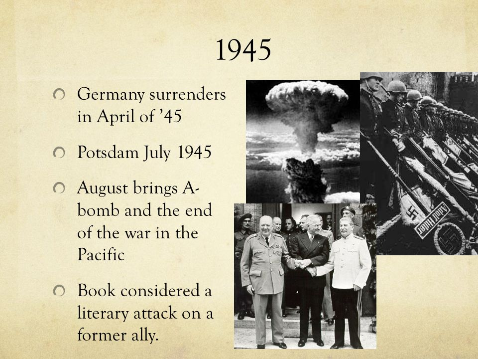 1945 Germany surrenders in April of '45 Potsdam July 1945