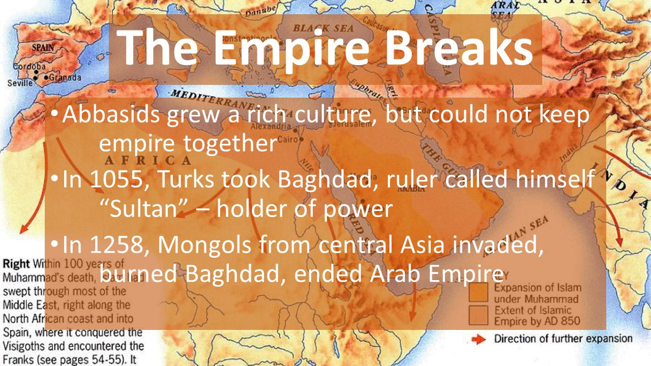 The Empire Breaks Abbasids grew a rich culture, but could not keep empire together.