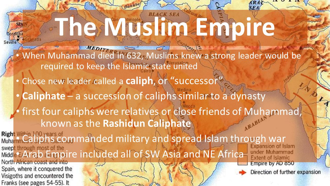 The Muslim Empire When Muhammad died in 632, Muslims knew a strong leader would be required to keep the Islamic state united.