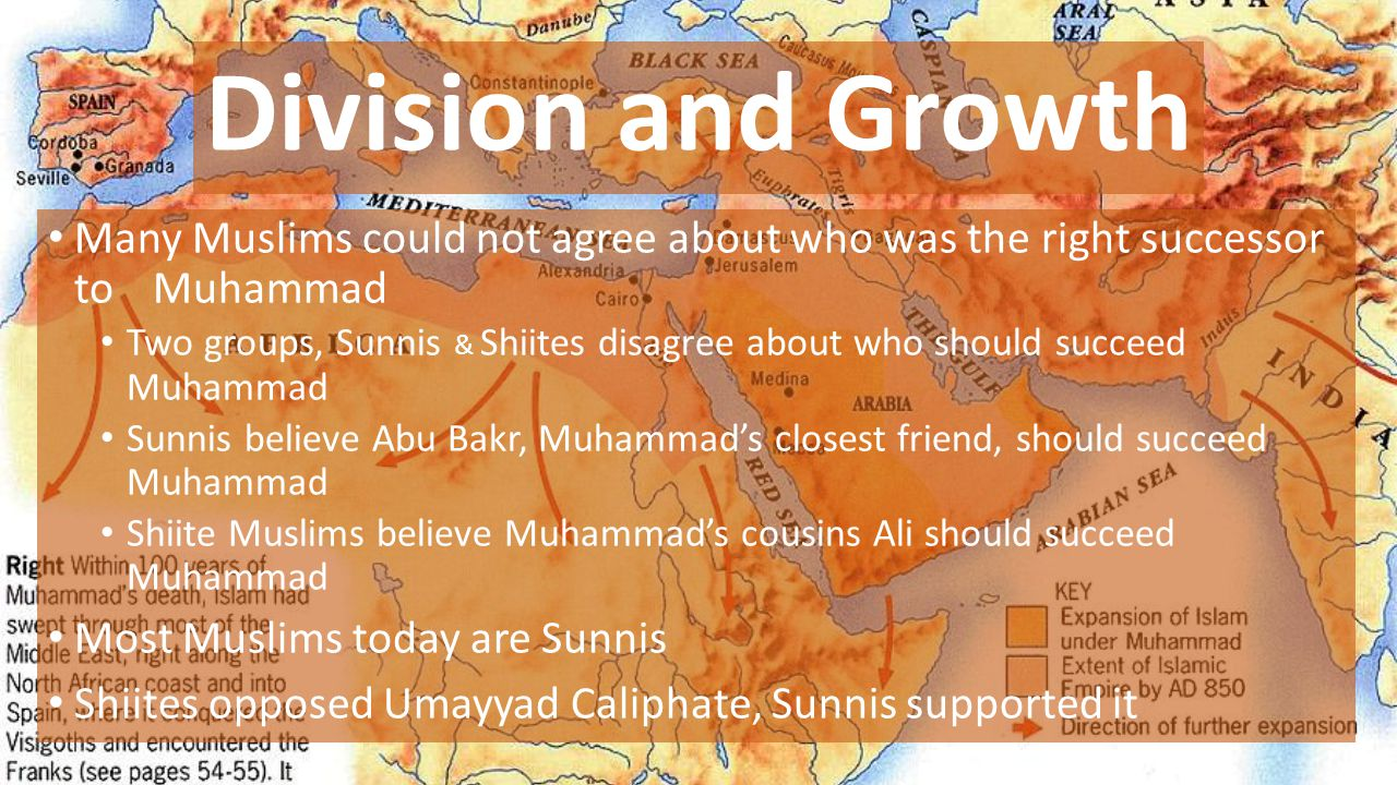 Division and Growth Many Muslims could not agree about who was the right successor to Muhammad.