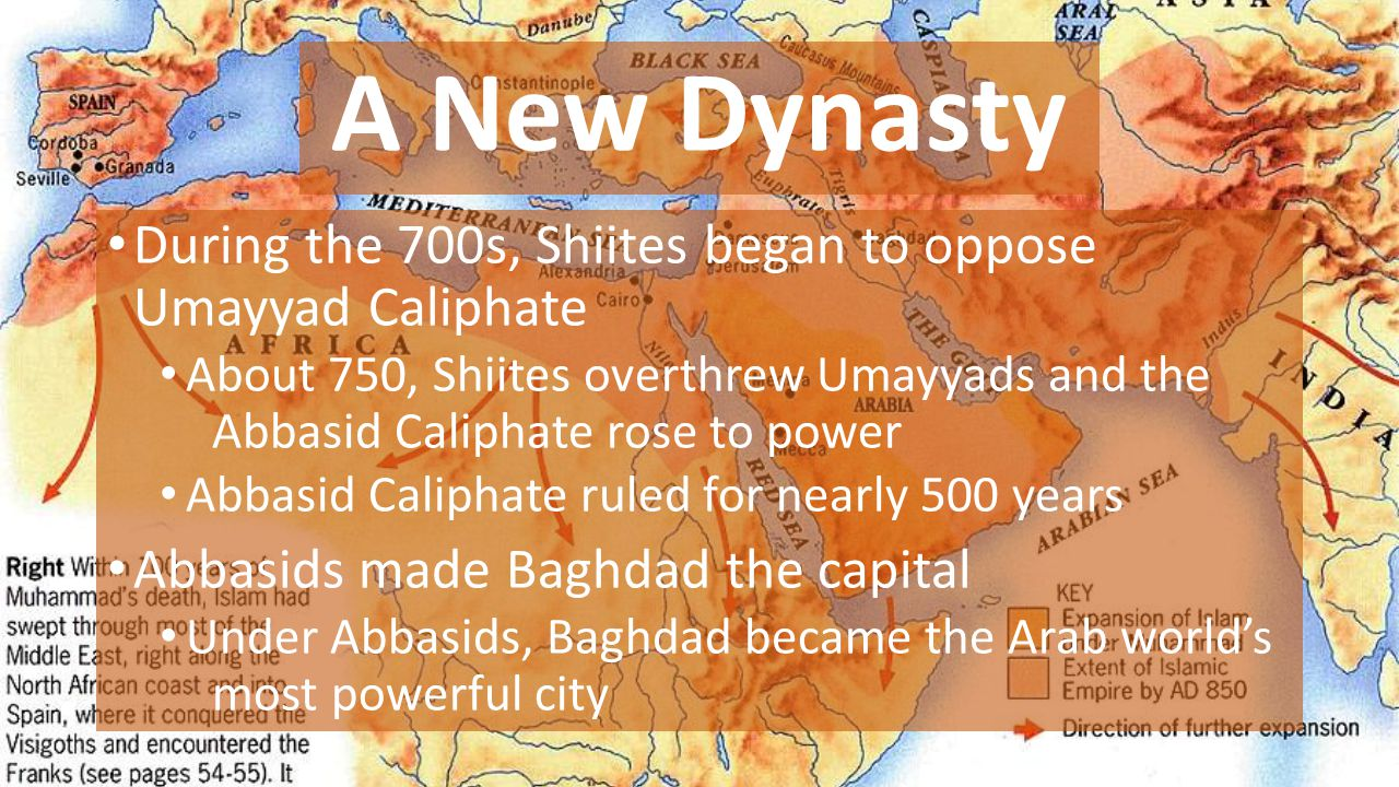 A New Dynasty During the 700s, Shiites began to oppose Umayyad Caliphate.